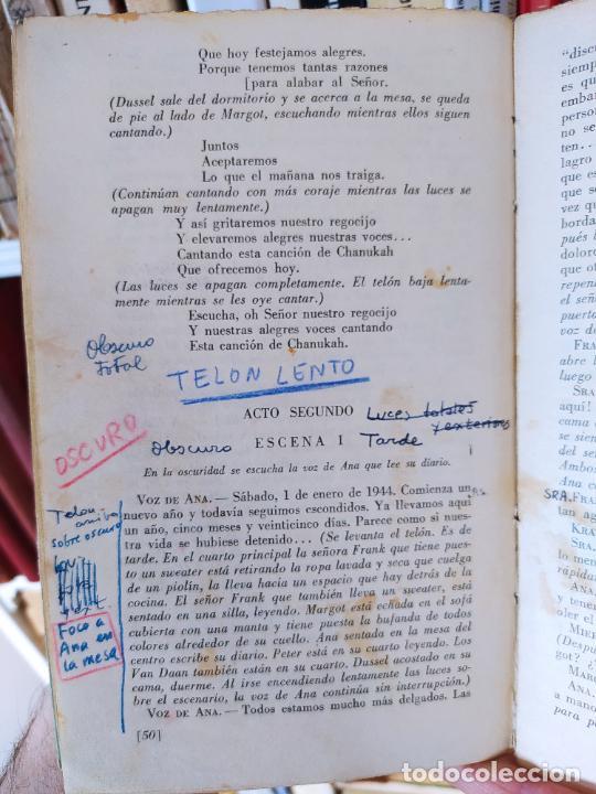 CURIOSA TEATRALIZACIÓN DE EL DIARIO DE ANA FRANK. EJEMPLAR ANOTADO PARA REPRESENTARLO. (Libros de Segunda Mano (posteriores a 1936) - Literatura - Teatro)