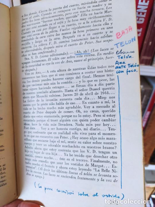Libros de segunda mano: Curiosa teatralización de el diario de ana Frank. Ejemplar anotado para representarlo. - Foto 3 - 232420411