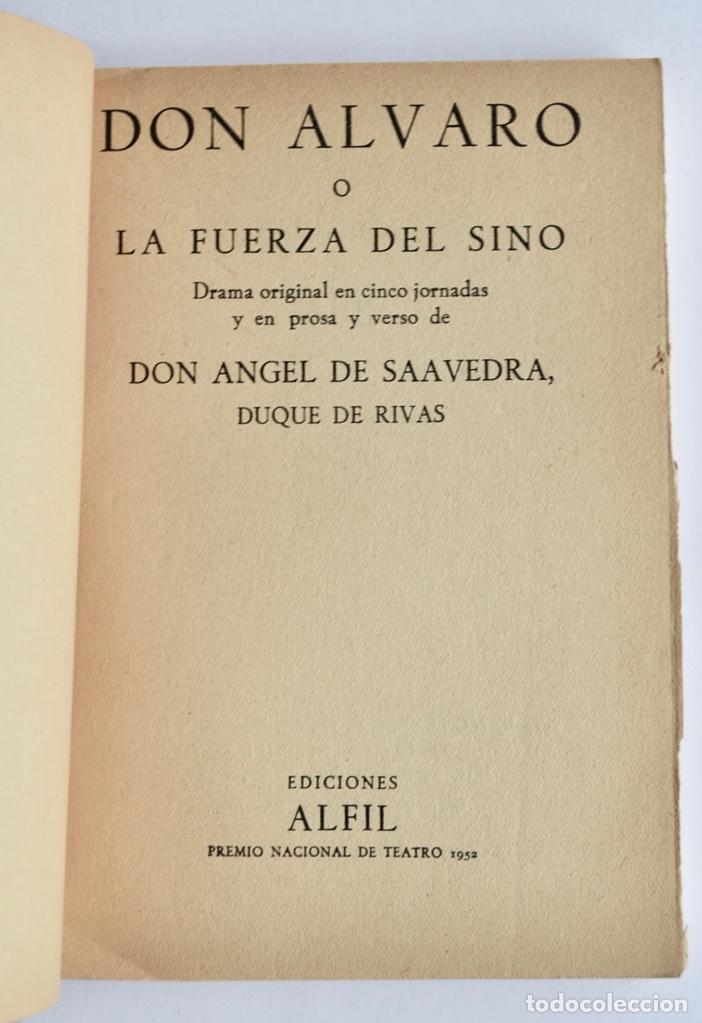 Libros de segunda mano: Duque de Rivas. Don Álvaro o La Fuerza del Sino. Colección Teatro, nº 240 (extra). Ed. Alfil, 1959 - Foto 2 - 237295990