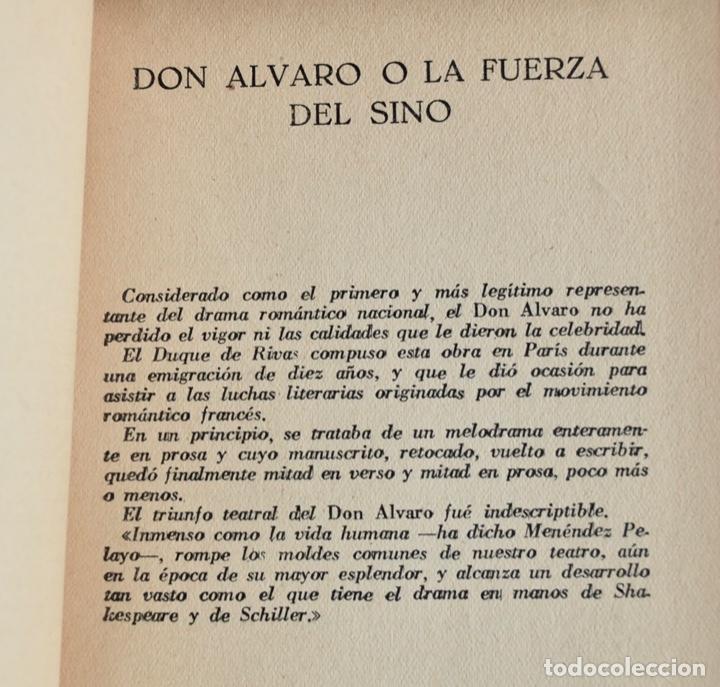 Libros de segunda mano: Duque de Rivas. Don Álvaro o La Fuerza del Sino. Colección Teatro, nº 240 (extra). Ed. Alfil, 1959 - Foto 4 - 237295990