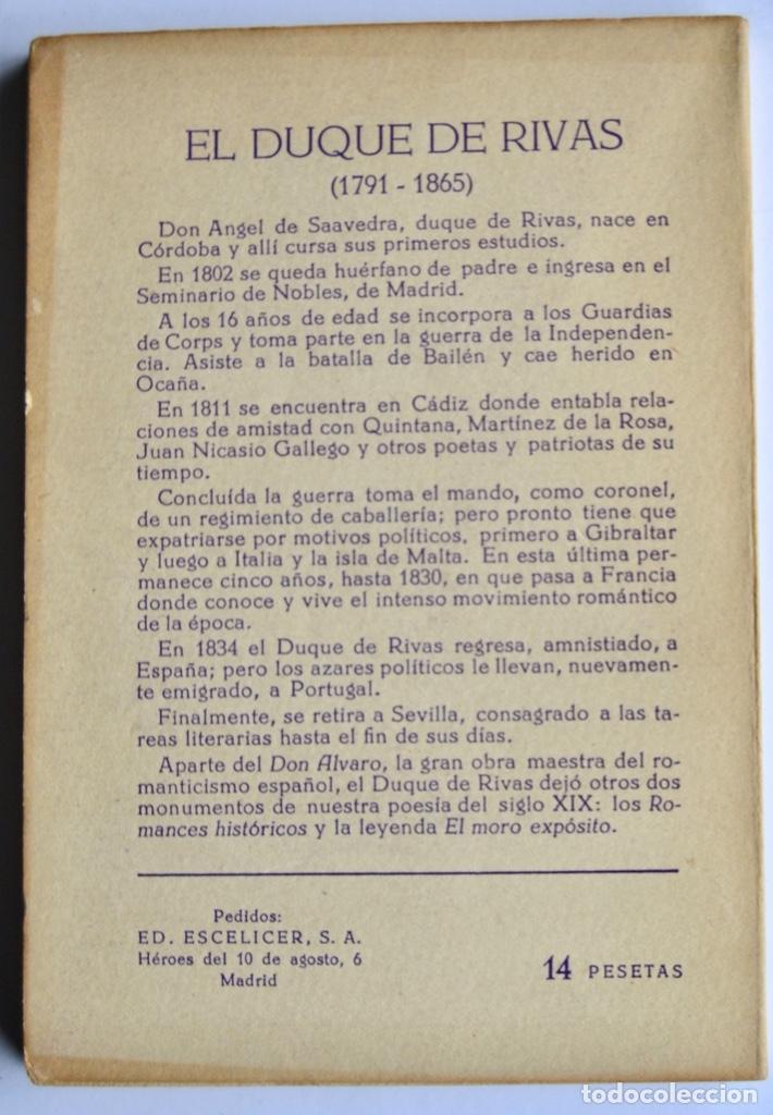 Libros de segunda mano: Duque de Rivas. Don Álvaro o La Fuerza del Sino. Colección Teatro, nº 240 (extra). Ed. Alfil, 1959 - Foto 5 - 237295990