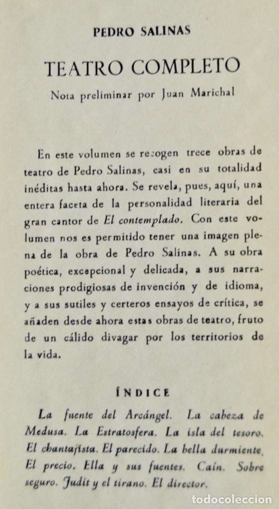Libros de segunda mano: Pedro Salinas. Teatro Completo. Prólogo de Juan Marichal. Aguilar. Primera Edición. Madrid, 1957 - Foto 3 - 237330555