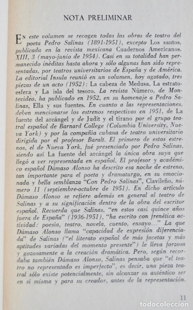 Libros de segunda mano: Pedro Salinas. Teatro Completo. Prólogo de Juan Marichal. Aguilar. Primera Edición. Madrid, 1957 - Foto 6 - 237330555