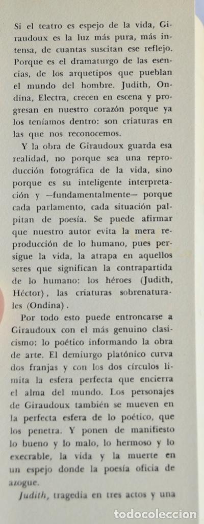 Libros de segunda mano: Jean Giraudoux. Judith. Dramaturgos de Hoy. Ediciones la Reja. Buenos Aires, 1956 - Foto 2 - 237358040