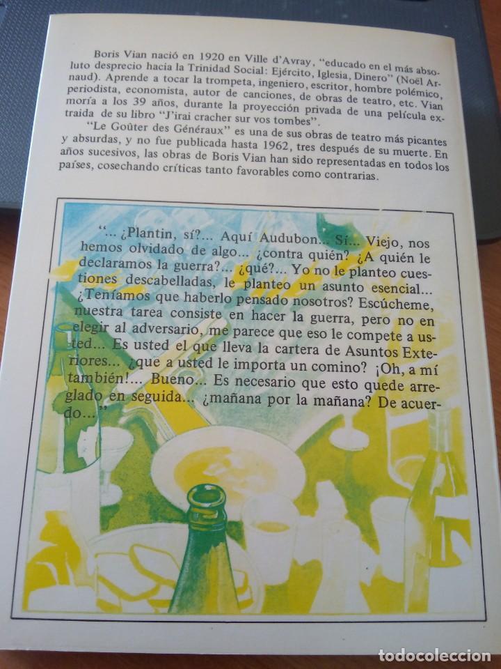 Libros de segunda mano: BORIS VIAN - LA MERIENDA DE LOS GENERALES - NUEVO ARTE THOR, 1985 - Foto 2 - 247933680