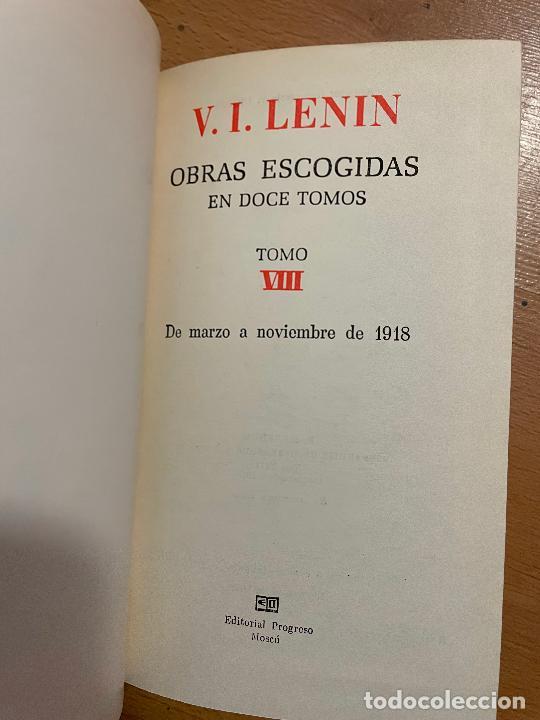 Libros de segunda mano: OBRAS ESCOGIDAS LENIN, TOMO 8, EDITORIAL PROGRESO, 1975 - Foto 4 - 258829910