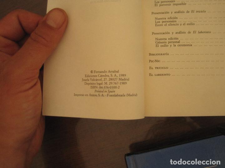Libros de segunda mano: Fernando Arrabal - Pic nic, el triciclo, el laberinto. cátedra 1989 - Foto 2 - 270138113