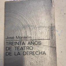 Libros de segunda mano: MONLEON, JOSE. - TREINTA AÑOS DE TEATRO DE LA DERECHA.. Lote 271633038