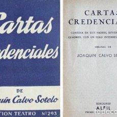 Libros de segunda mano: CALVO SOTELO, JOAQUÍN. CARTAS CREDENCIALES. COMEDIA EN DOS PARTES. 1961 (COL. 'TEATRO').. Lote 277449368