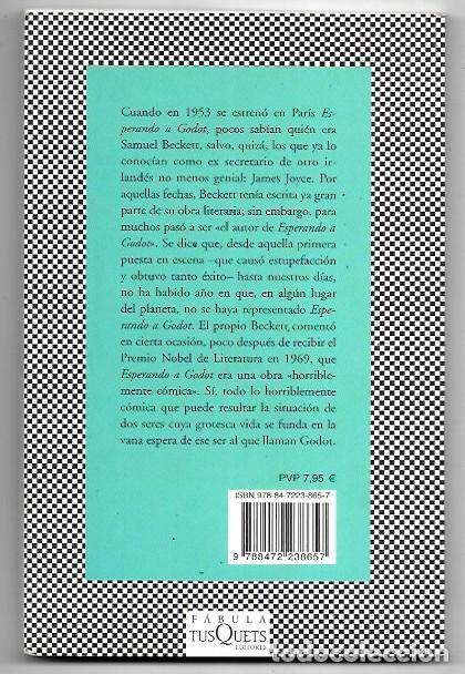 Libros de segunda mano: Samuel Beckett . Esperando a Godot . Tusquets - Foto 2 - 288571308