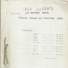 Libros de segunda mano: ELS LLEONS, DE ANTONI MUS. 1974 (MENORCA 11.2). Lote 295831368