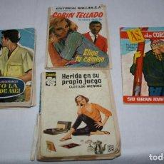 Libros de segunda mano: LOTE DE 4 NOVELAS Y COMIC ROMANTICAS, CAMELIAS AS DE CORAZONES MADREPERLA CORIN TELLADO AÑOS 60. Lote 61727544
