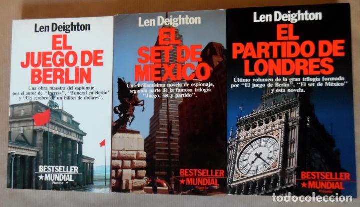 Libros de segunda mano: Deighton. La trilogía: Juego Berlín, Set México y Partido Londres. Len Deighton. Guerra de espías - Foto 3 - 72818483