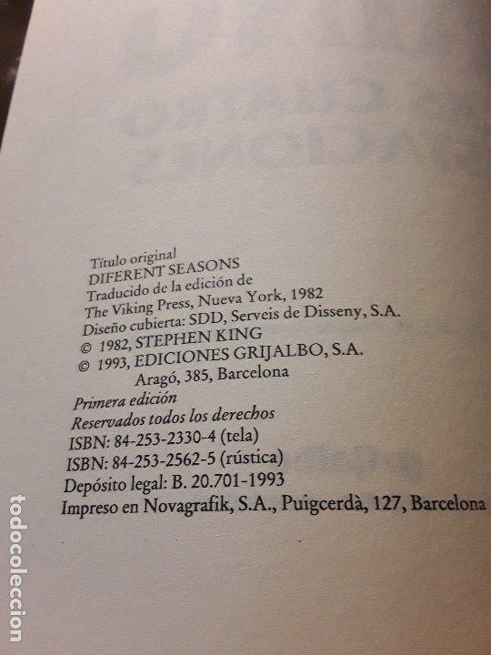 Libros de segunda mano: Las cuatro estaciones, de Stephen King. Tapa dura. 1.ª ed (1993). Con defecto. - Foto 4 - 174519458