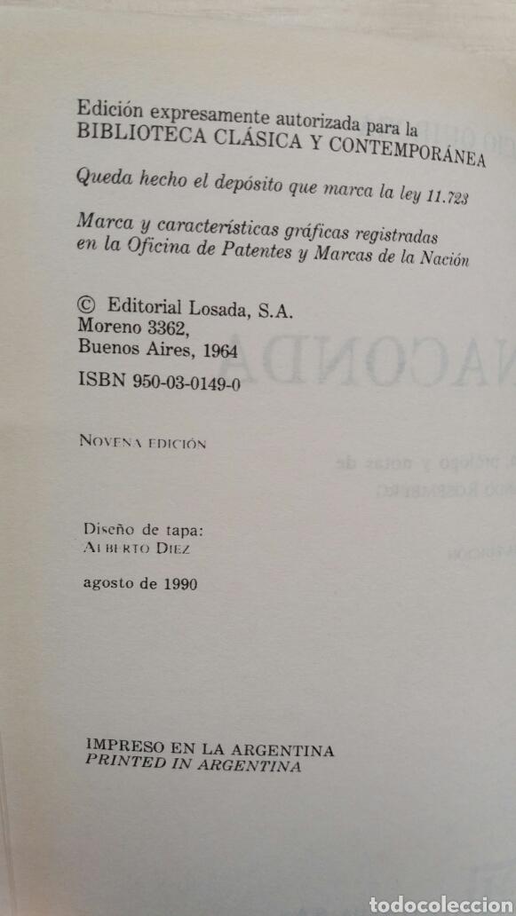 Libros de segunda mano: Anaconda. Horacio Quiroga. Losada, 1990. - Foto 6 - 180999680