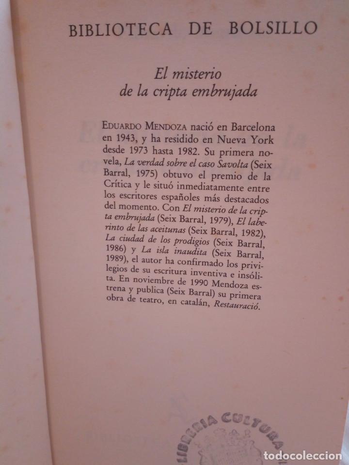 Libros de segunda mano: 297-EL MISTERIO DE LA CRIPTA EMBRUJADA, Eduardo Mendoza, 1990 - Foto 3 - 183957398