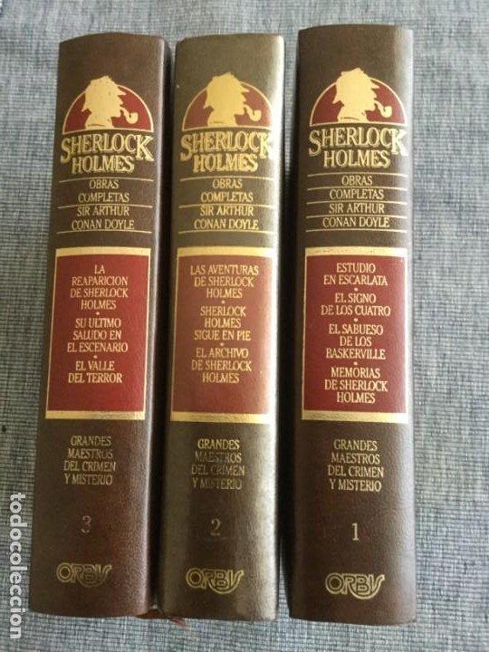 Libros de segunda mano: Sherlock Holmes. Obras completas: volúmenes 1, 2 y 3. Sir Arthur Conan Doyle. - Foto 2 - 195378110