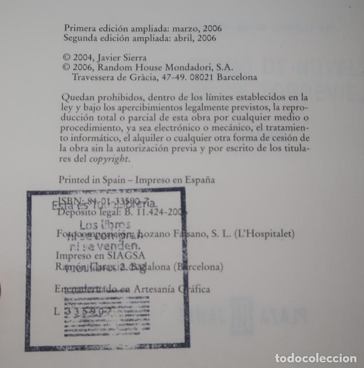 Libros de segunda mano: La cena secreta - Javier Sierra - Plaza & Janés (2006) - Foto 3 - 213761591