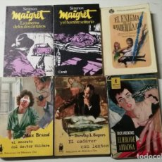 Livres d'occasion: LOTE 6 NOVELAS POLICIACAS... MAIGRET Y EL HOMBRE SOLITARIO - MAIGRET TABERNA DOS CENTAVOS. Lote 227083175