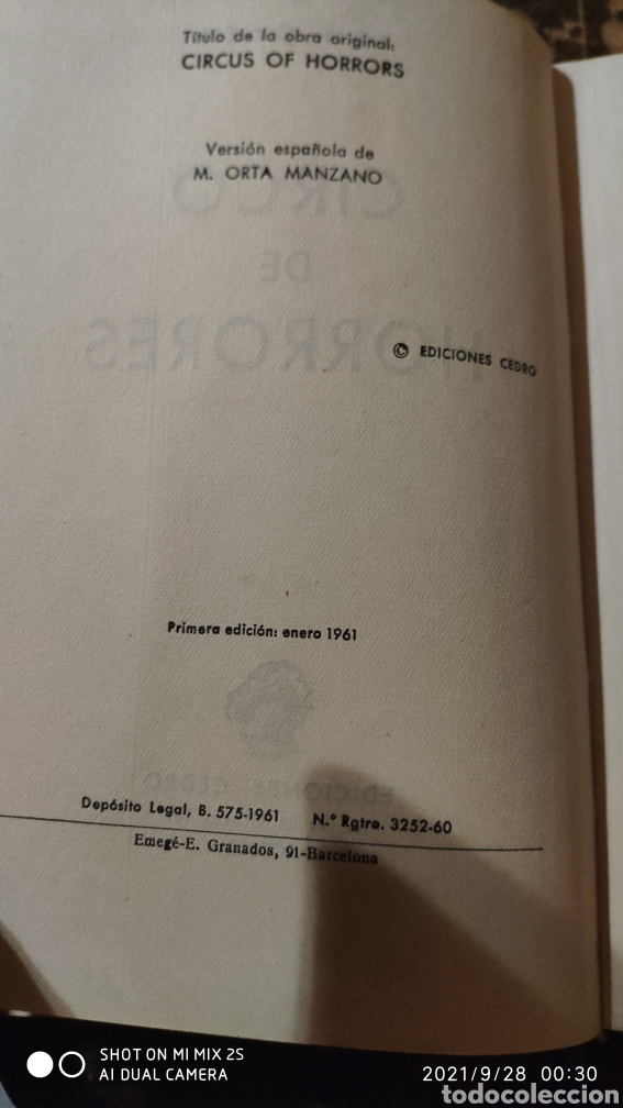 Libros de segunda mano: CIRCO DE HORRORES (TOM OWEN) (ED. CEDRO) - Foto 3 - 290147103