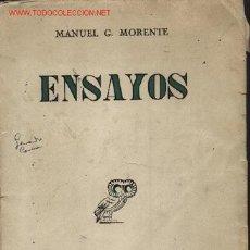 Libros de segunda mano: ENSAYOS, POR MANUEL G. MORENTE. REVISTA DE OCCIDENTE. 1945.. Lote 23193011