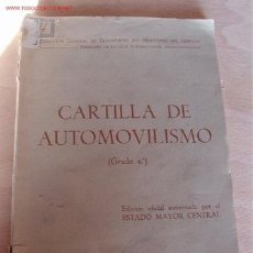 Libros de segunda mano: CARTILLA DE AUTOMOVILISMO. Lote 8067744