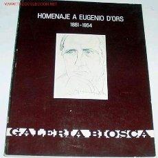 Libros de segunda mano: HOMENAJE A EUGENIO D'ORS - 1881-1954-. Lote 13816488