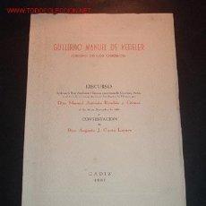 Libros de segunda mano: DISCURSO LEIDO EN LA REAL ACADEMIA HISPANO AMERICANA DE CIENCIAS Y ARTES EL DIA 10/12/1961. Lote 13897145