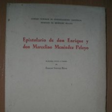 Libros de segunda mano: EPISTOLARIO DE DON ENRIQUE Y DON MARCELINO MENÉNDEZ PELAYO.. Lote 26805077