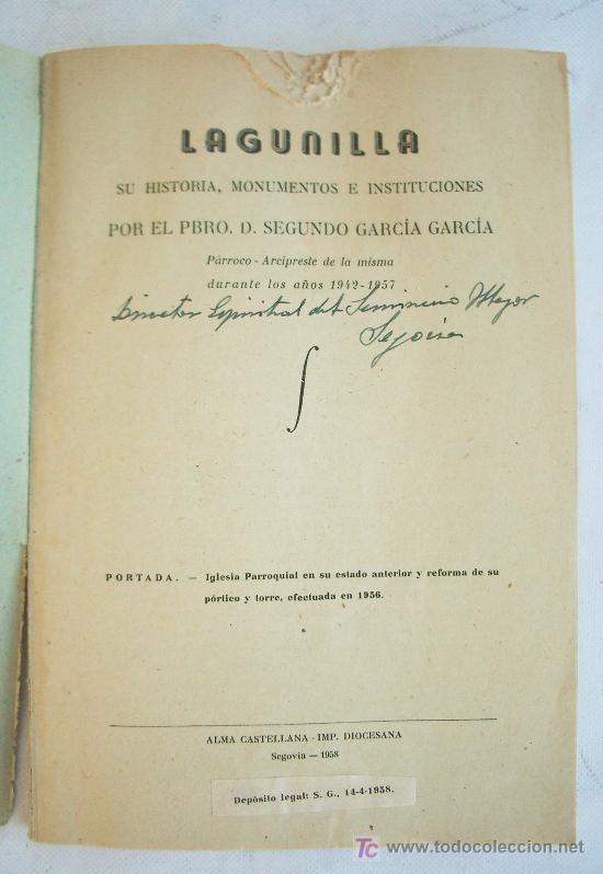 Libros de segunda mano: Libro sobre Lagunilla (Salamanca). Impreso en Segovia, 1958. - Foto 2 - 7081309
