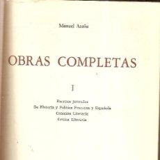 Libros de segunda mano: OBRAS COMPLETAS / MANUEL AZAÑA. MEXICO : OASIS, 1966. 1ª ED. 4 VOLS.23 X 16 CM. TIRADA 5000 EJ.. Lote 27568785