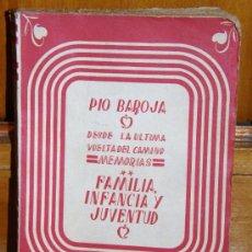 Livres d'occasion: FAMILIA, INFANCIA Y JUVENTUD. PIO BAROJA. Lote 26890458