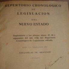 Libros de segunda mano: LIBRO REPERTORIO CRONOLOGICO DE LEGISLACION 1937 ¡¡¡¡ PRIMERA EDICION ¡¡¡¡ ARANZADI. Lote 22674502