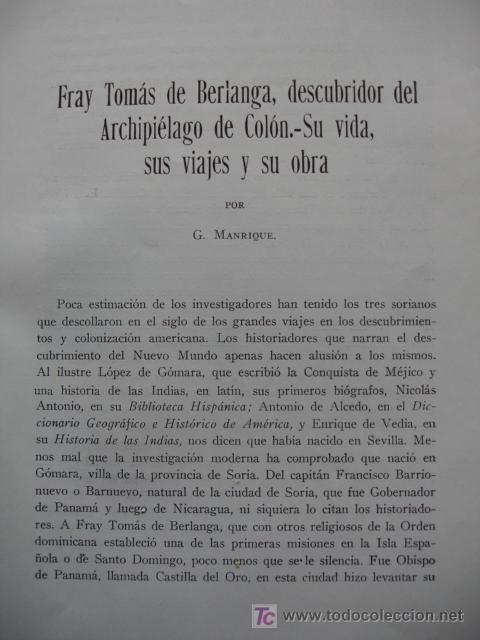 FRAY TOMAS DE BERLANGA,DESCUBRIDOR ARCHIPIELAGO COLON,G,MANRIQUE (Libros de Segunda Mano - Historia - Otros)