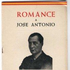 Libros de segunda mano: 1959. ROMANCE A JOSE ANTONIO. HOMENAJE PERPETUO. POR J. HERNÁNDEZ MANCHON.. Lote 27599748