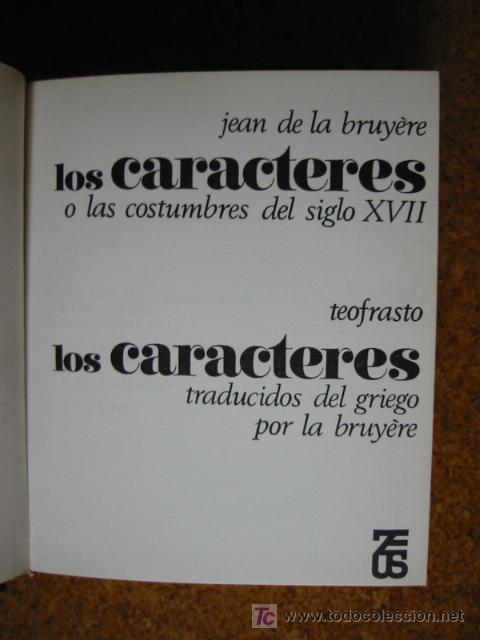 Libros de segunda mano: LOS CARACTERES, por JEAN de la BRUYÈRE y por TEOFRASTO - Foto 3 - 26956168