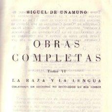 Libros de segunda mano: OBRAS COMPLETAS. UNAMUNO. A-PI-259,2. Lote 4833735