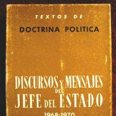 Libros de segunda mano: DISCURSOS Y MENSAJES DEL JEFE DEL ESTADO, 1968-70, PUBLICACIONES ESPAÑOLAS,TEXTOS DOCTRINA POLITICA.. Lote 25829605