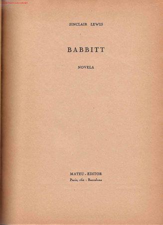 BABBITT / SINCLAIR LEWIS (Libros de Segunda Mano (posteriores a 1936) - Literatura - Otros)