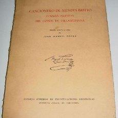 Libros de segunda mano: CANCIONERO DE MENDEZ BRITTO - POESIAS INEDITAS DEL CONDE DE VILLAMEDIANA - EDICION ESTUDIO Y NOTAS D. Lote 26765620
