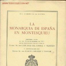 Libros de segunda mano: LA MONARQUIA ESPAÑOLA EN MONTESQUIEU. Lote 4344864