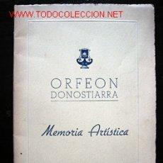Libros de segunda mano: ORFEON DONOSTIARRA - MEMORIA ARTÍSTICA 1946. Lote 26190821