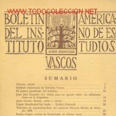 Libros de segunda mano: 3 TOMOS BOLETIN DEL INSTITUTO AMERICANO DE ESTUDIOS VASCOS. AÑO I - VOL. I - Nº 1,2,3 -1950. Lote 25986328