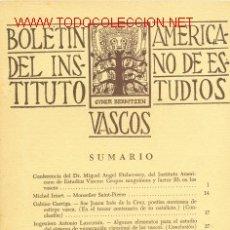 Libros de segunda mano: 4 TOMOS BOLETIN DEL INSTITUTO AMERICANO DE ESTUDIOS VASCOS. AÑO III - VOL. III - Nº 8,9,10,11 -1952. Lote 26331964