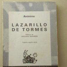 Libros de segunda mano: LAZARILLO DE TORMES, AUTOR ANÓNIMO. COLECCION AUSTRAL DE ESPASA-CALPE AÑO 1984.. Lote 26535261