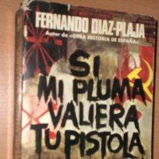 Libros de segunda mano: SI MI PLUMA VALIERA TU PISTOLA. LOS ESCRITORES ESPAÑOLES EN LA GUERRA CIVIL.. Lote 27365913