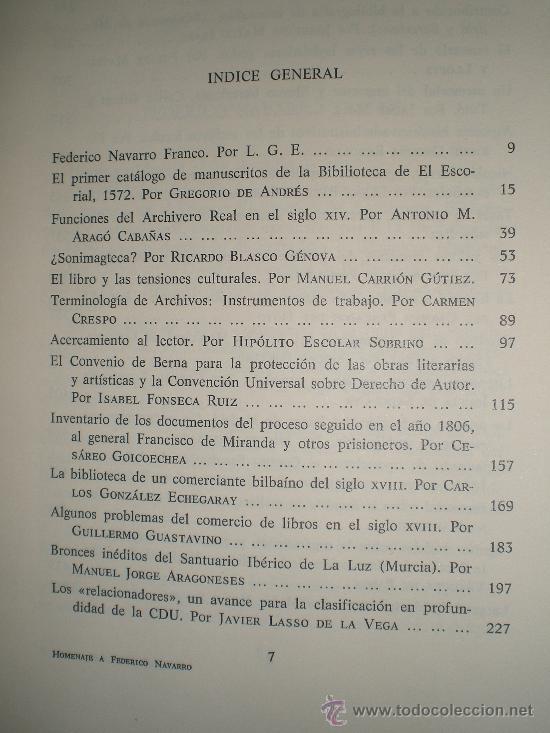 Libros de segunda mano: HOMENAJE A FEDERICO NAVARRO. MISCELÁNEA DE ESTUDIOS DEDICADOS A SU MEMORIA. - Foto 2 - 27365914