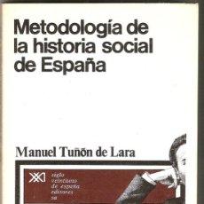 Libros de segunda mano: METODOLOGÍA DE LA HISTORIA SOCIAL DE ESPAÑA / M. TUÑÓN DE LARA.- 1ª ED.- . Lote 21178260