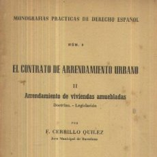 Libros de segunda mano: EL CONTRATO DE ARRENDAMIENTO URBANO II: ARRENDAMIENTO DE VIVIENDAS AMUEBLADAS (A/ DE- 122). Lote 3372280