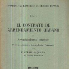 Libros de segunda mano: EL CONTRATO DE ARRENDAMIENTO URBANO (V): ARRENDAMIENTOS A-DE-123. Lote 3372281